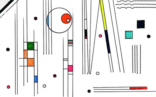 Primary Colors Drawing - Deco 3 by Mary Bedy