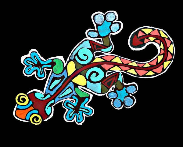 Tattoo Flash Painting - Deco Gecko by Brandy Nicole Neal Stenstrom