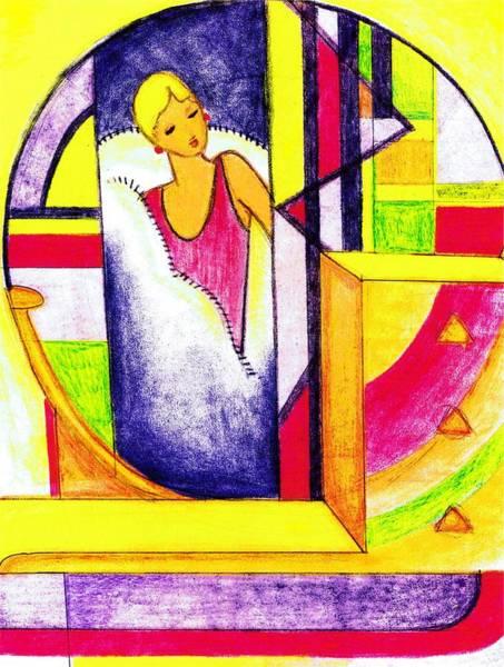 Nostalgia Drawing - Deco Mirror by Mel Thompson