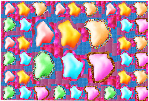 Promotion Mixed Media - Deco Pattern Patchup Collage Crystals Jewels Rose Flower Petals by Navin Joshi