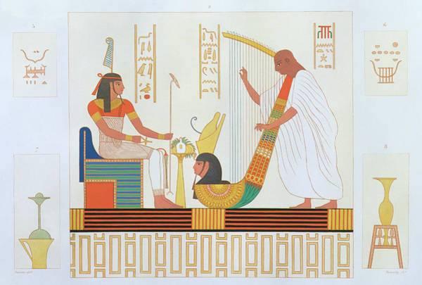 Ancient Egypt Drawing - Decoration From The Room Of The Harps by Andre Dutertre