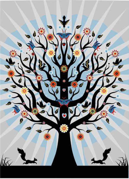 Illustration Digital Art - Decorative Illustrated Tree by Suzanne Carpenter Illustration