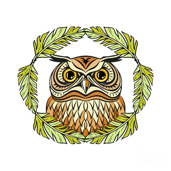 Wall Art - Digital Art - Decorative Illustration With An Owl by Olgachka