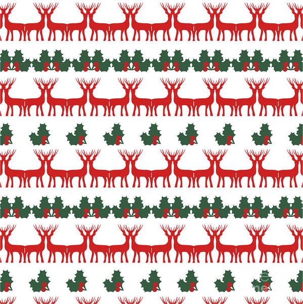 Reindeer Wall Art - Digital Art - Decorative Reindeer Vector Pattern by Mattponchik