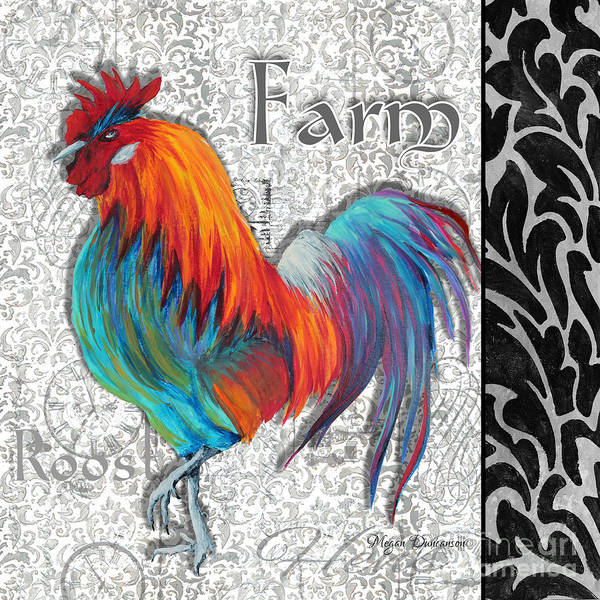 Roost Painting - Decorative Rooster Chicken Decorative Art Original Painting King Of The Roost By Megan Duncanson by Megan Duncanson