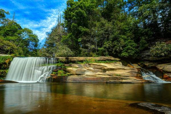 Mill Shoals Falls Wall Art - Photograph - Deep Blue Skies And The French Broad Falls by Carol Montoya