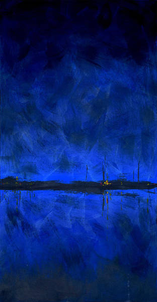 Painting - Deep Blue Waterfront At Night Triptych 1 Of 3 by Charles Harden
