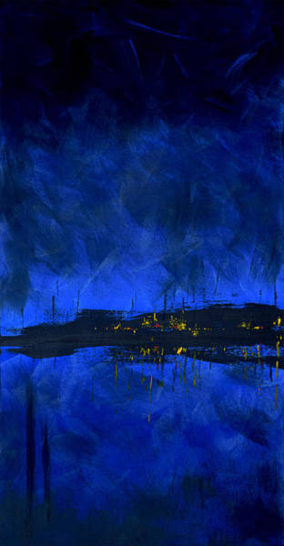 Painting - Deep Blue Waterfront At Night Triptych 2 Of 3 by Charles Harden