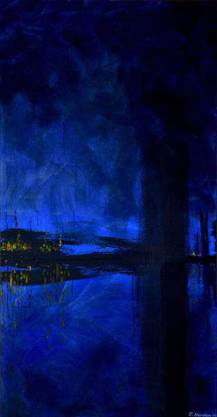 Painting - Deep Blue Waterfront At Night Triptych 3 Of 3 by Charles Harden
