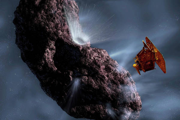 Flyby Photograph - Deep Impact Impactor Hitting Comet by Nasa/science Photo Library