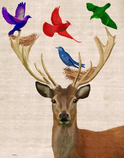 Wall Art - Digital Art - Deer And Birds Nests by Kelly McLaughlan