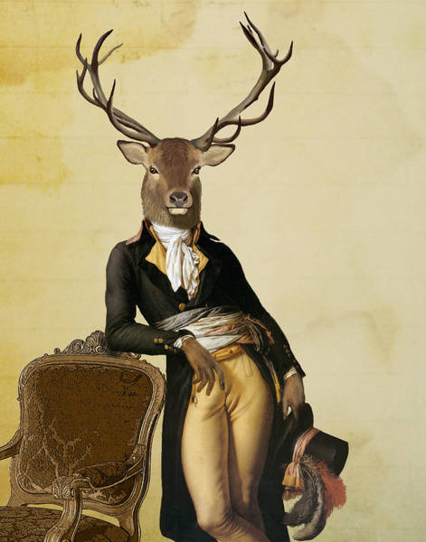 Antlers Digital Art - Deer And Chair by Loopylolly
