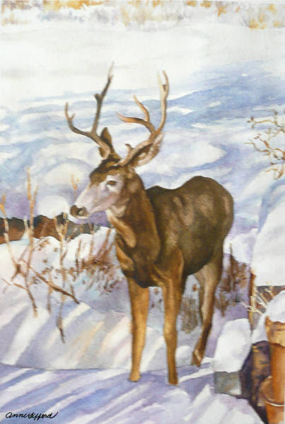 Antlers Painting - Deer At Bob's House by Anne Gifford
