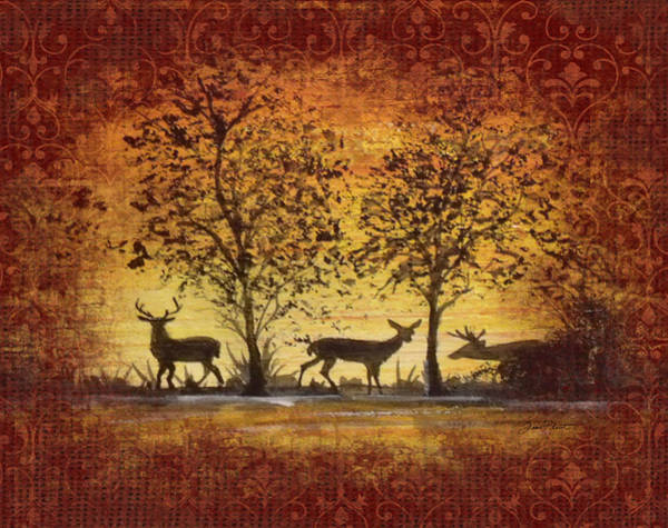 Burlap Painting - Deer At Sunset On Damask by Jean Plout