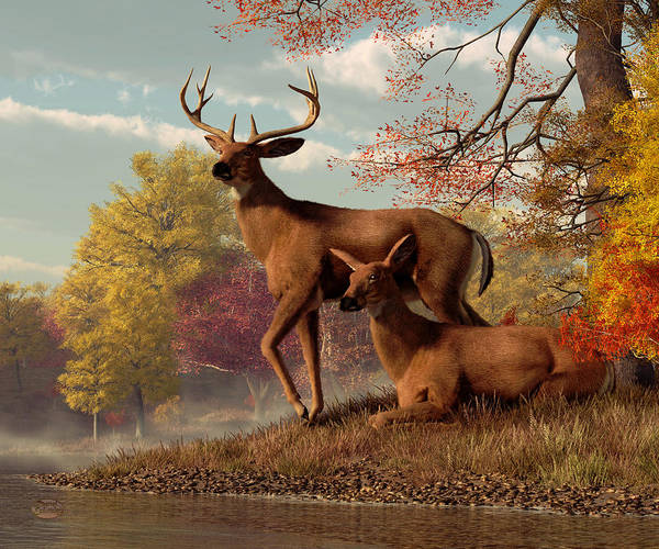 Digital Art - Deer By An Autumn Lake by Daniel Eskridge