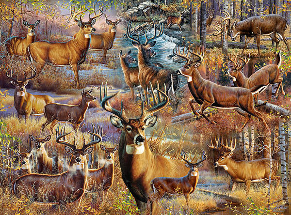 Painting - Deer Collage by JQ Licensing