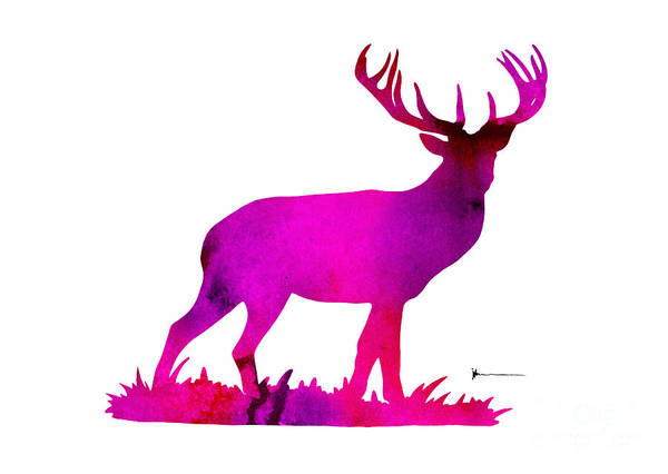 Deer Wall Art - Painting - Deer Figurine Silhouette Poster Watercolor Art Print by Joanna Szmerdt