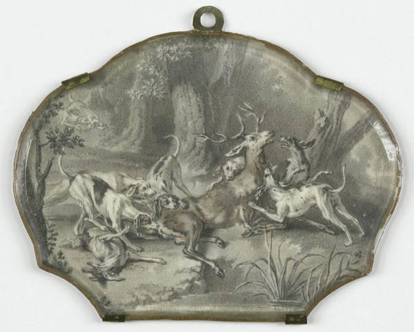 1715 Drawing - Deer Hunting, Anonymous by Litz Collection