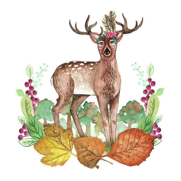 Wall Art - Painting - Deer In The Trees With Leafy Wreath Placement.jpg by MGL Meiklejohn Graphics Licensing