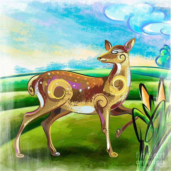 Furry Digital Art - Deer Over Hill by Peter Awax