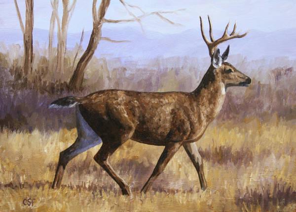 Mule Deer Wall Art - Painting - Deer Painting - Trotting Buck by Crista Forest