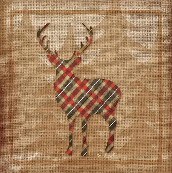 Cabin Wall Art - Painting - Deer Plaid by Jennifer Pugh