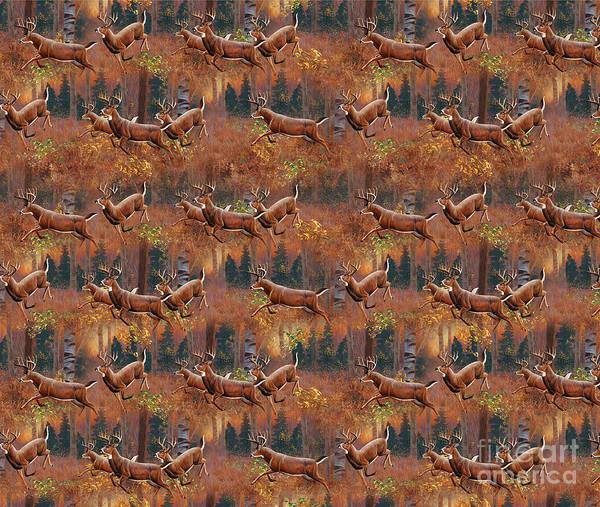Painting - Deer Running Douvet Pillow Design by JQ Licensing