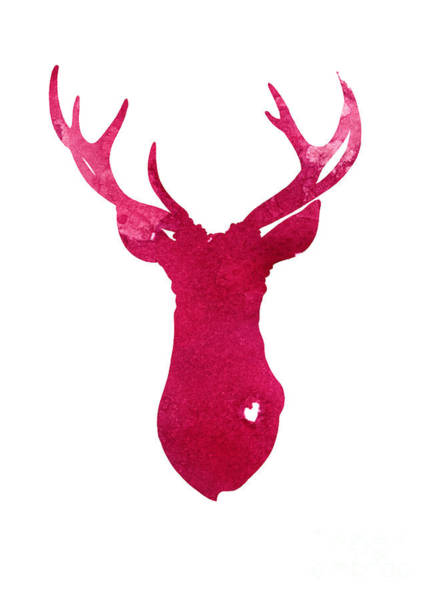 Deer Wall Art - Painting - Deer Silhouette Painting Watercolor Art Print by Joanna Szmerdt