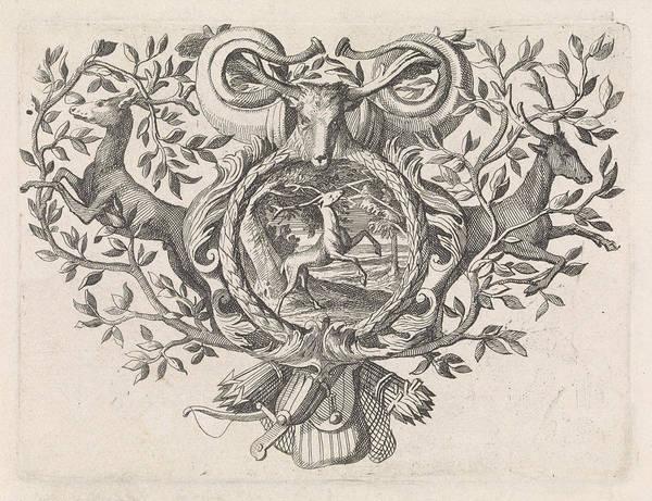 Hoof Drawing - Deer Under A Tree Struck By Lightning, Caspar Luyken by Caspar Luyken And Jacob Lindenberg