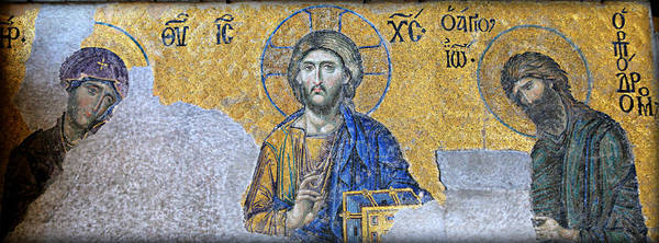 Istanbul Photograph - Deesis Mosaic -- Hagia Sophia by Stephen Stookey