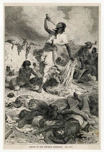 Wall Art - Drawing - Defeated By The British At  Magdala by Mary Evans Picture Library