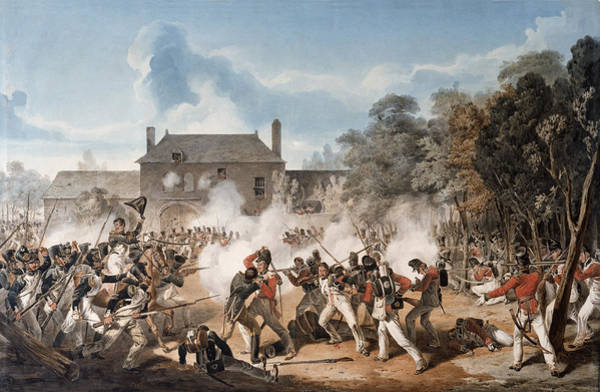 Attack Drawing - Defence Of The Chateau De Hougoumont by Denis Dighton