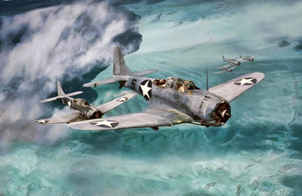 Sbd Wall Art - Digital Art - Defending Midway by Peter Chilelli