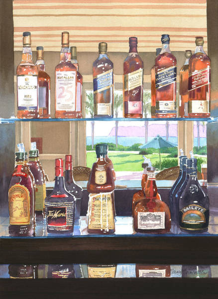 Whiskey Wall Art - Painting - Del Coronado Spirits by Mary Helmreich