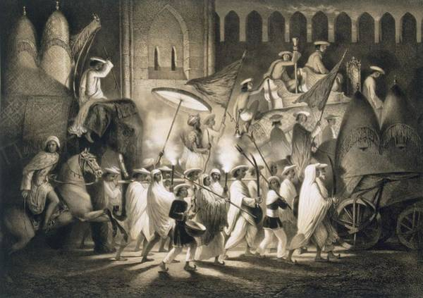 India Drawing - Delhi Cortege And Retinue Of The Great by A. Soltykoff