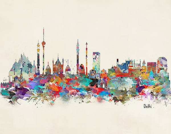 India Painting - Delhi India Skyline by Bri Buckley