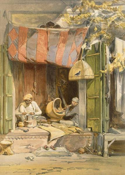 Indian Drawing - Delhi - Jeweller, From India Ancient by William 'Crimea' Simpson