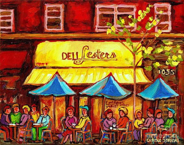 Painting - Deli Lesters Smoked Meat Paris Style Sidewalk Cafe Bistro Paintings Street Scene Montreal Art  by Carole Spandau