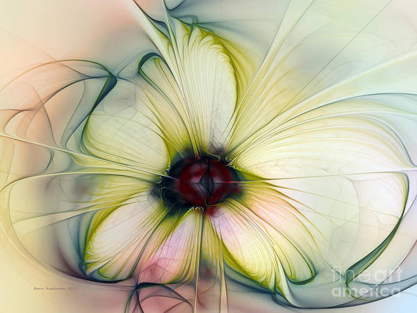 Digital Art - Delicate Flower Dream In Creme by Karin Kuhlmann
