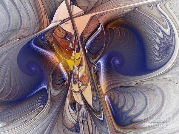 Passionate Digital Art - Delicate Spiral Duo In Blue by Karin Kuhlmann