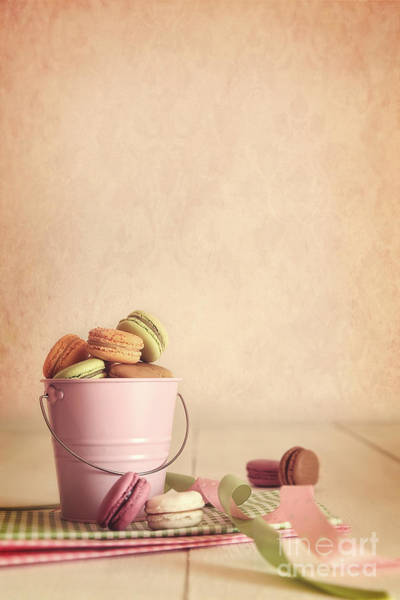 Photograph - Delicious French Macaroons  In Pail On Table by Sandra Cunningham
