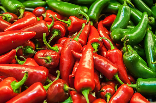 Photograph - Delicious Fresh Green And Red Chili Fruit On Display At Supermar by Alex Grichenko