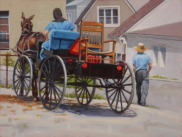 Rocking Chairs Painting - Delivering The Chair by Todd Baxter