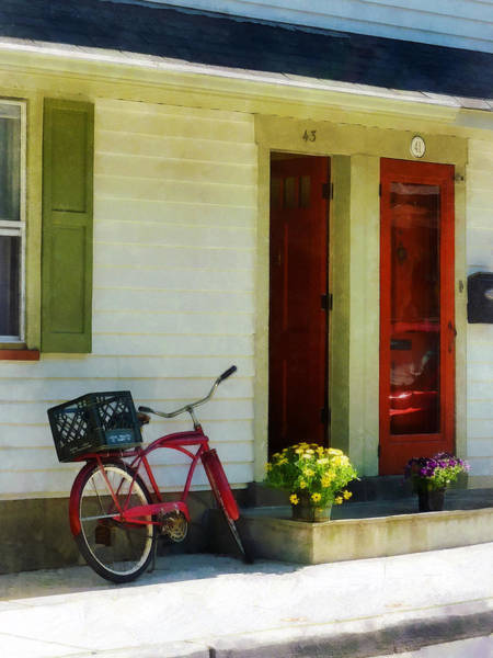 Photograph - Delivery Bicycle By Two Red Doors by Susan Savad
