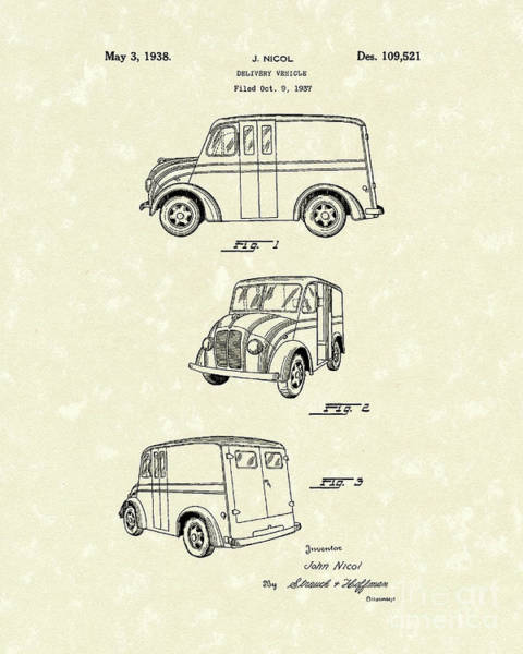 Vehicle Drawing - Delivery Vehicle 1938 Patent Art  by Prior Art Design