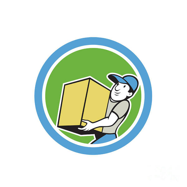 Delivery Worker Carrying Package Cartoon Art Print by Aloysius Patrimonio