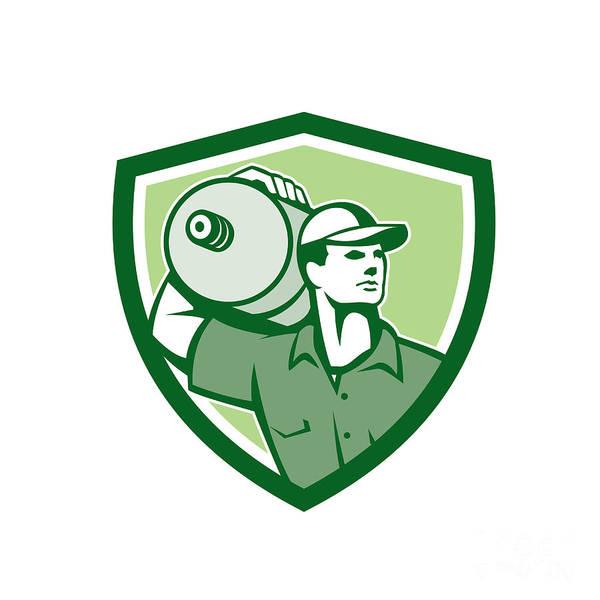 Jug Digital Art - Delivery Worker Water Jug Shield Retro by Aloysius Patrimonio
