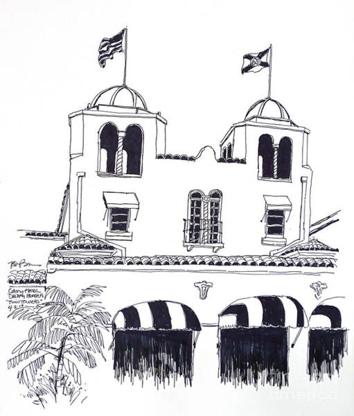 Twin Towers Drawing - Delray Beach Historic Colony Hotel Twin Towers. Florida by Robert Birkenes