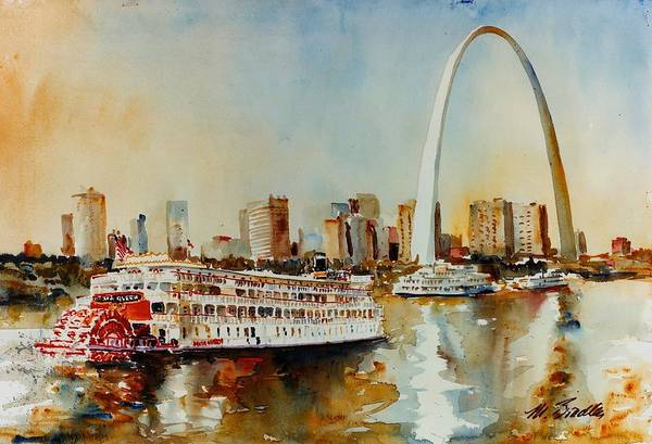 St Louis Arch Painting - Delta Queen At St Louis by Marilynne Bradley