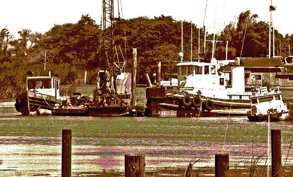 Digital Art - Delta Tug Boats At Work by Joseph Coulombe